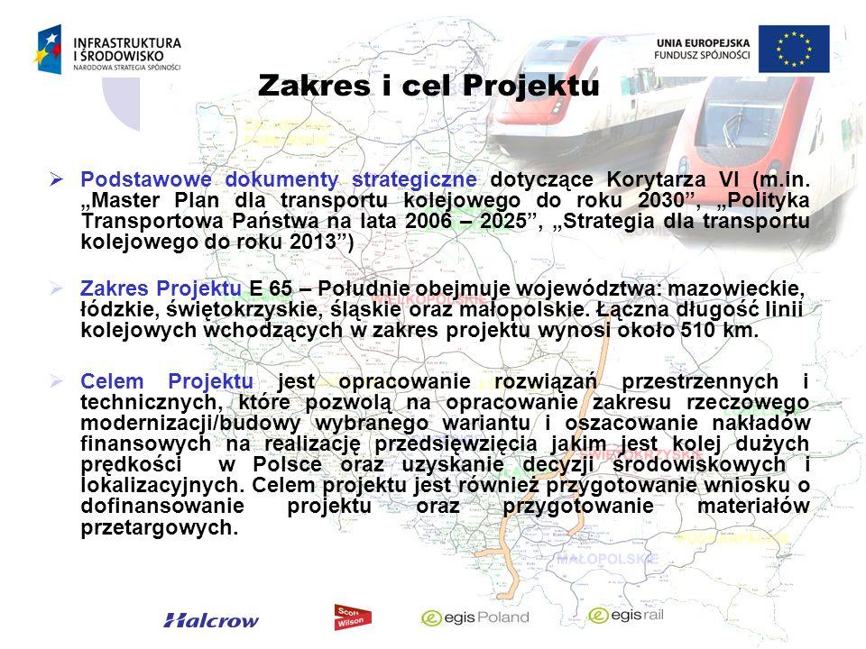 Zakres i cel Projektu Podstawowe dokumenty strategiczne dotyczące Korytarza VI (m.in. Master Plan dla transportu kolejowego do roku 2030, Polityka Tra