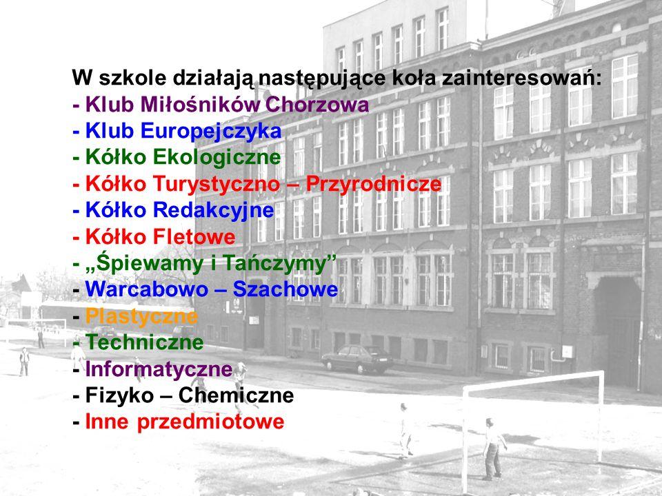W szkole działają następujące koła zainteresowań: - Klub Miłośników Chorzowa - Klub Europejczyka - Kółko Ekologiczne - Kółko Turystyczno – Przyrodnicz