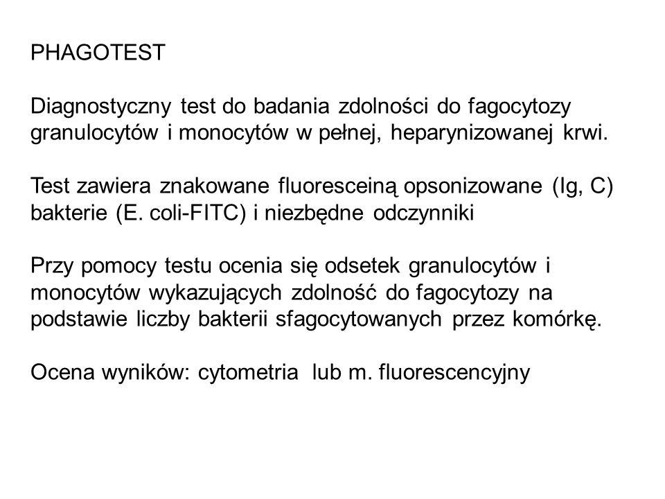 PHAGOTEST Diagnostyczny test do badania zdolności do fagocytozy granulocytów i monocytów w pełnej, heparynizowanej krwi. Test zawiera znakowane fluore