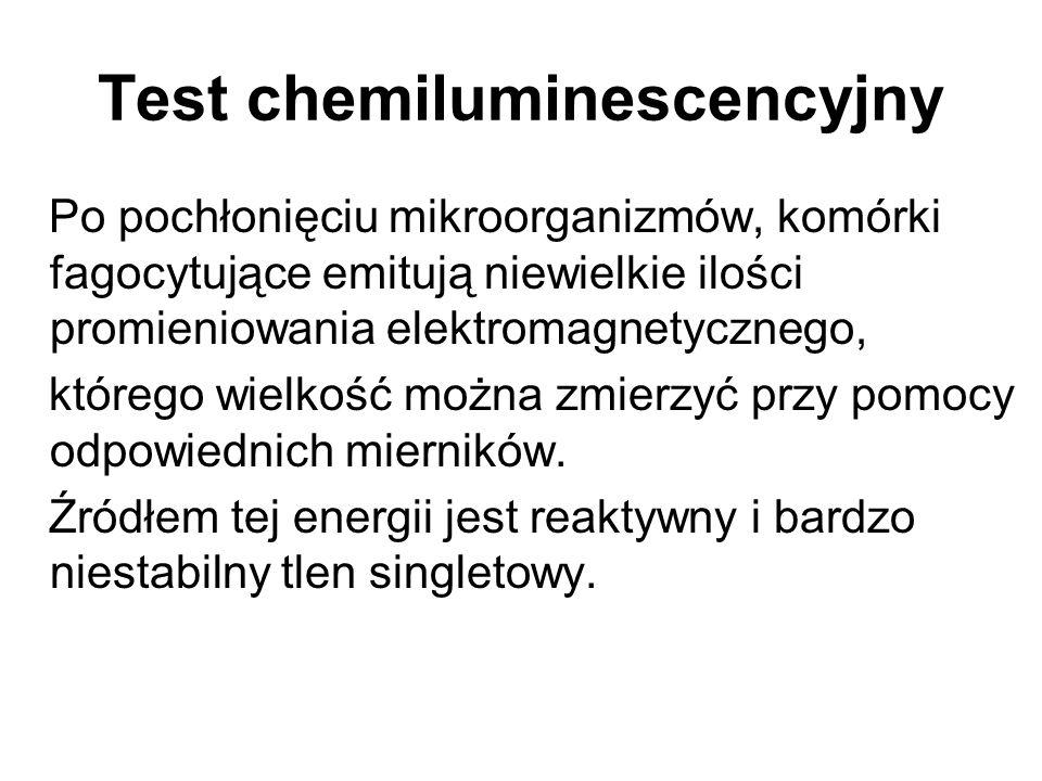 Test chemiluminescencyjny Po pochłonięciu mikroorganizmów, komórki fagocytujące emitują niewielkie ilości promieniowania elektromagnetycznego, którego