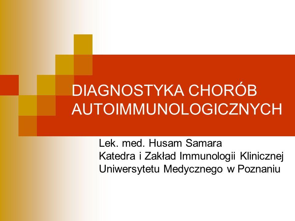 Metody stosowane w diagnostyce chorób autoimmunizacyjnych Wykrywanie autoprzeciwciał w surowicy: Immunofluorescencja pośrednia Metoda immunoenzymatyczna (ELISA) Western blot / immunoblot Metody radioizotopowe Techniki żelowe Wykrywanie kompleksów immunologicznych w tkankach: Immunofluorescencja bezpośrednia Immunohistochemia
