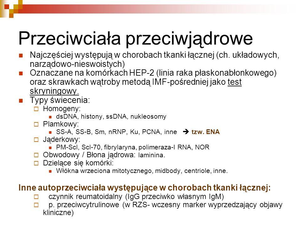 Przeciwciała przeciwjądrowe Najczęściej występują w chorobach tkanki łącznej (ch. układowych, narządowo-nieswoistych) Oznaczane na komórkach HEP-2 (li