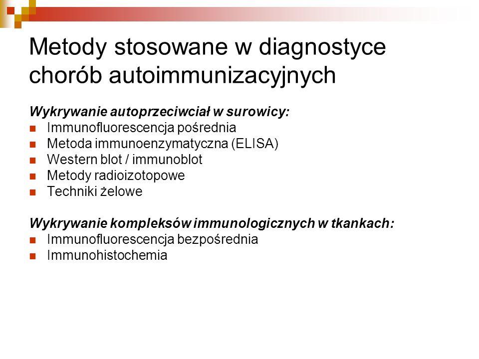 Metody stosowane w diagnostyce chorób autoimmunizacyjnych Wykrywanie autoprzeciwciał w surowicy: Immunofluorescencja pośrednia Metoda immunoenzymatycz