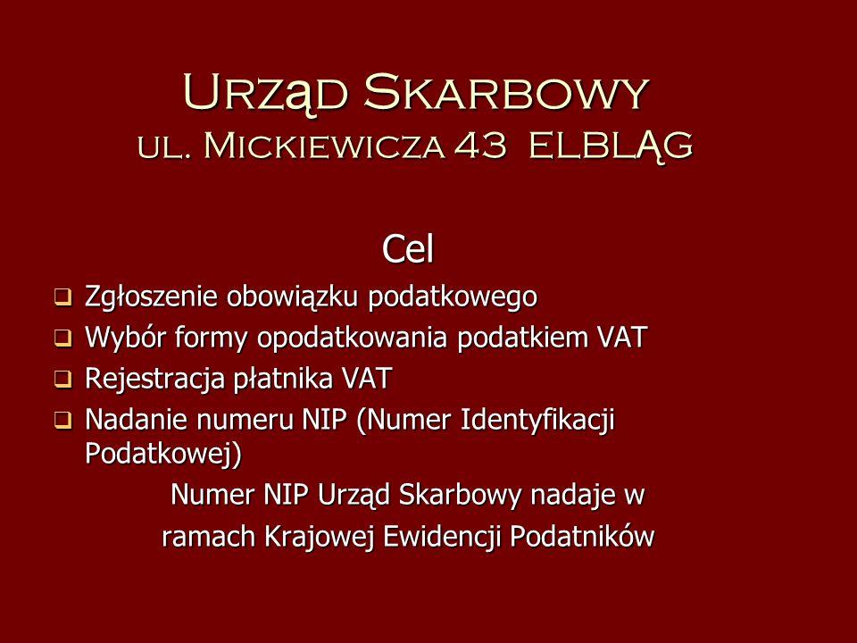Urz ą d Skarbowy ul. Mickiewicza 43 ELBL Ą G Cel Zgłoszenie obowiązku podatkowego Zgłoszenie obowiązku podatkowego Wybór formy opodatkowania podatkiem