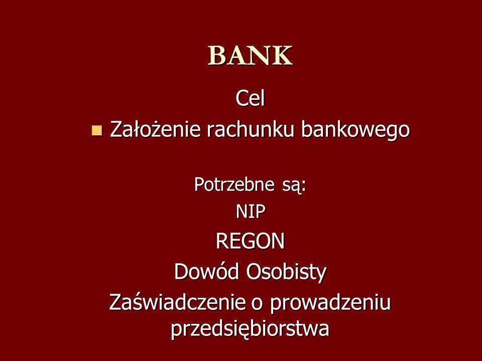 BANK BANKCel Założenie rachunku bankowego Założenie rachunku bankowego Potrzebne są: NIPREGON Dowód Osobisty Zaświadczenie o prowadzeniu przedsiębiors