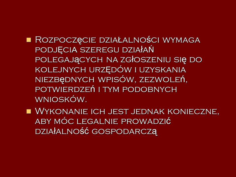 ETAPY ZA Ł O Ż ENIA FIRMY