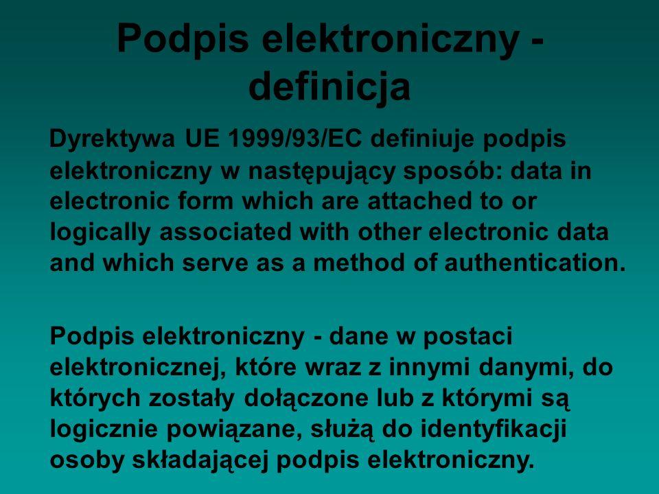 Podpis elektroniczny - definicja Dyrektywa UE 1999/93/EC definiuje podpis elektroniczny w następujący sposób: data in electronic form which are attach