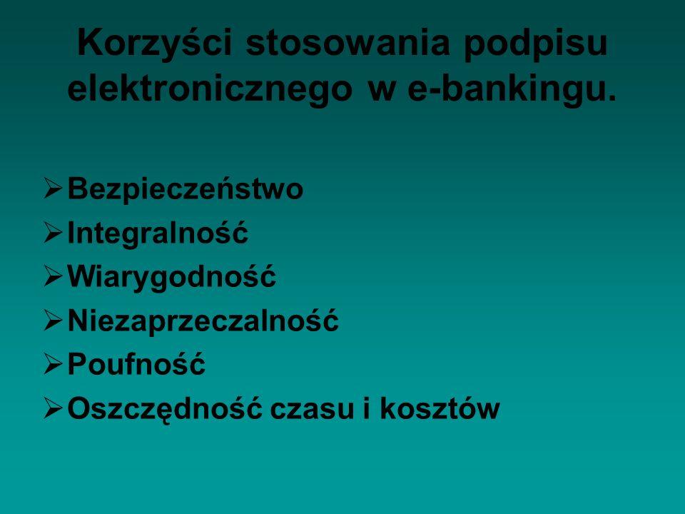 Korzyści stosowania podpisu elektronicznego w e-bankingu. Bezpieczeństwo Integralność Wiarygodność Niezaprzeczalność Poufność Oszczędność czasu i kosz
