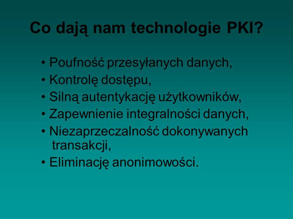 Co dają nam technologie PKI? Poufność przesyłanych danych, Kontrolę dostępu, Silną autentykację użytkowników, Zapewnienie integralności danych, Niezap