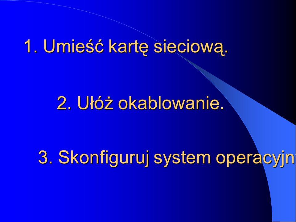 2. Ułóż okablowanie. 1. Umieść kartę sieciową. 3. Skonfiguruj system operacyjny.