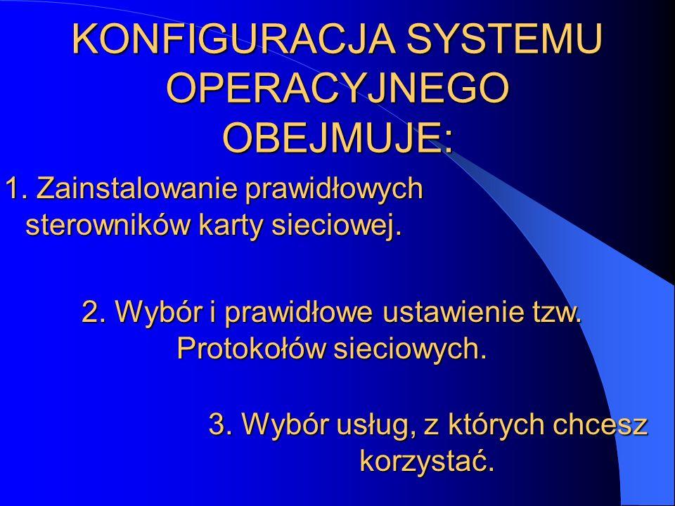 KONFIGURACJA SYSTEMU OPERACYJNEGO OBEJMUJE: 1. Zainstalowanie prawidłowych sterowników karty sieciowej. 2. Wybór i prawidłowe ustawienie tzw. Protokoł