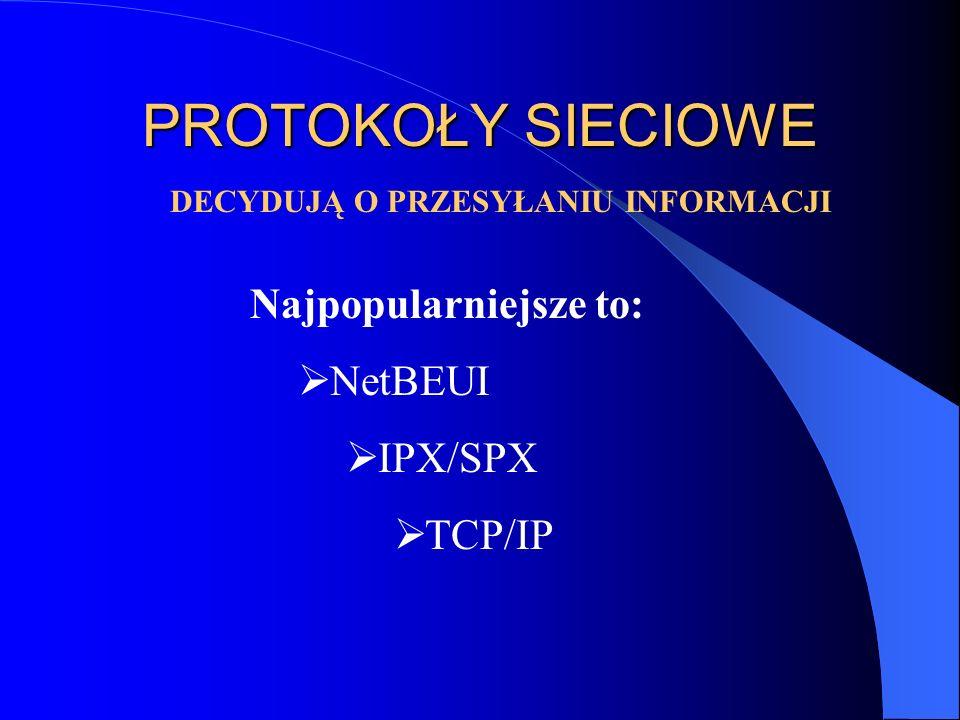 PROTOKOŁY SIECIOWE DECYDUJĄ O PRZESYŁANIU INFORMACJI Najpopularniejsze to: NetBEUI IPX/SPX TCP/IP