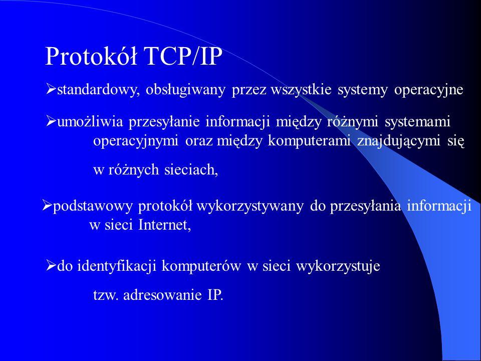 Protokół TCP/IP standardowy, obsługiwany przez wszystkie systemy operacyjne umożliwia przesyłanie informacji między różnymi systemami operacyjnymi ora