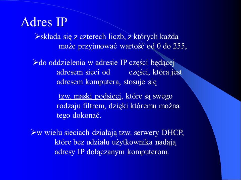 Adres IP składa się z czterech liczb, z których każda może przyjmować wartość od 0 do 255, do oddzielenia w adresie IP części będącej adresem sieci od