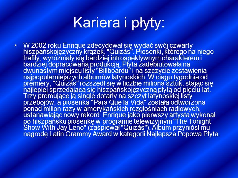 Kariera i płyty: W 2002 roku Enrique zdecydował się wydać swój czwarty hiszpańskojęzyczny krążek,