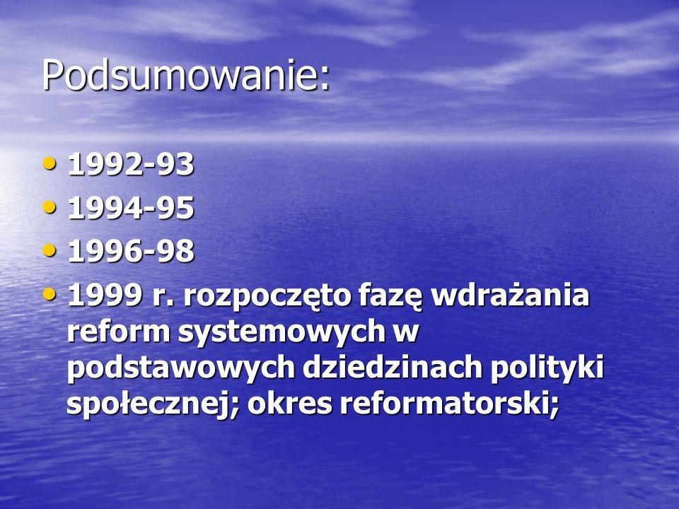 Podsumowanie: 1992-93 1992-93 1994-95 1994-95 1996-98 1996-98 1999 r. rozpoczęto fazę wdrażania reform systemowych w podstawowych dziedzinach polityki