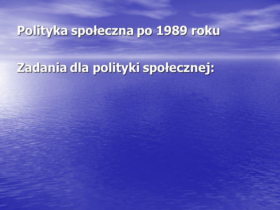 Polityka społeczna po 1989 roku Zadania dla polityki społecznej: