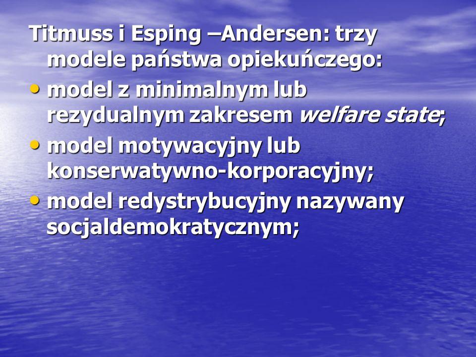 Titmuss i Esping –Andersen: trzy modele państwa opiekuńczego: model z minimalnym lub rezydualnym zakresem welfare state; model z minimalnym lub rezydu