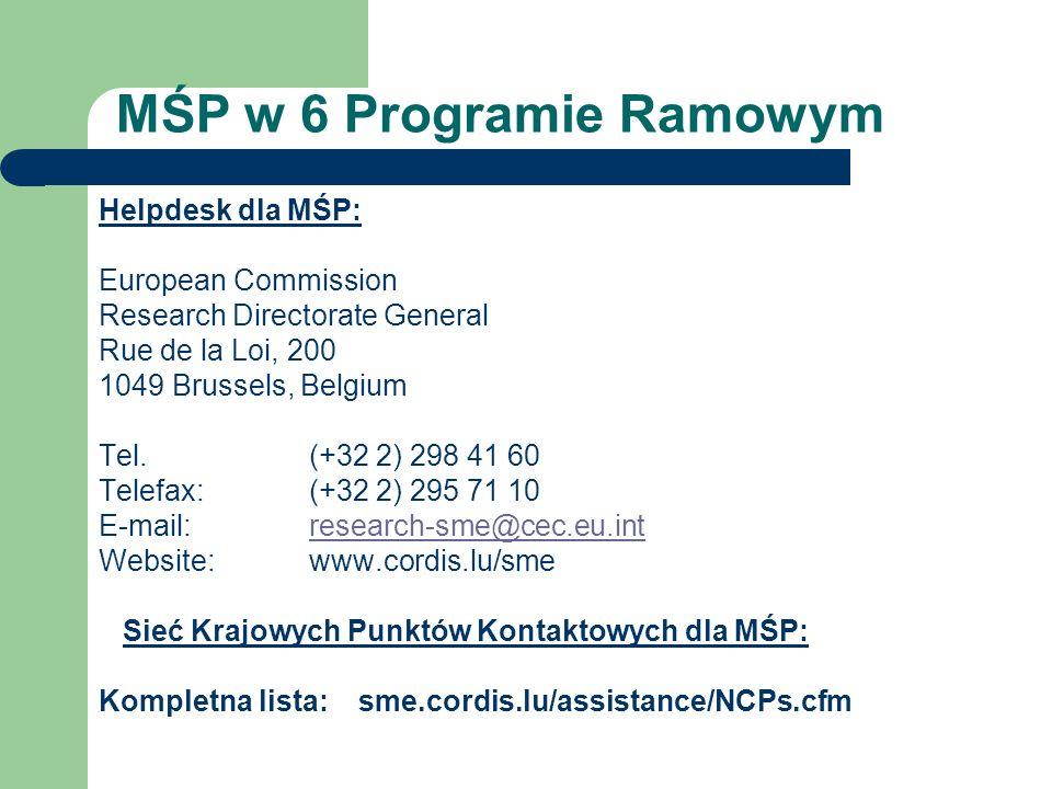 MŚP w 6 Programie Ramowym Helpdesk dla MŚP: European Commission Research Directorate General Rue de la Loi, 200 1049 Brussels, Belgium Tel. (+32 2) 29