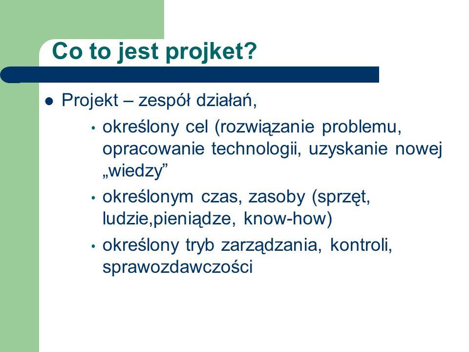 Co to jest projket? Projekt – zespół działań, określony cel (rozwiązanie problemu, opracowanie technologii, uzyskanie nowej wiedzy określonym czas, za