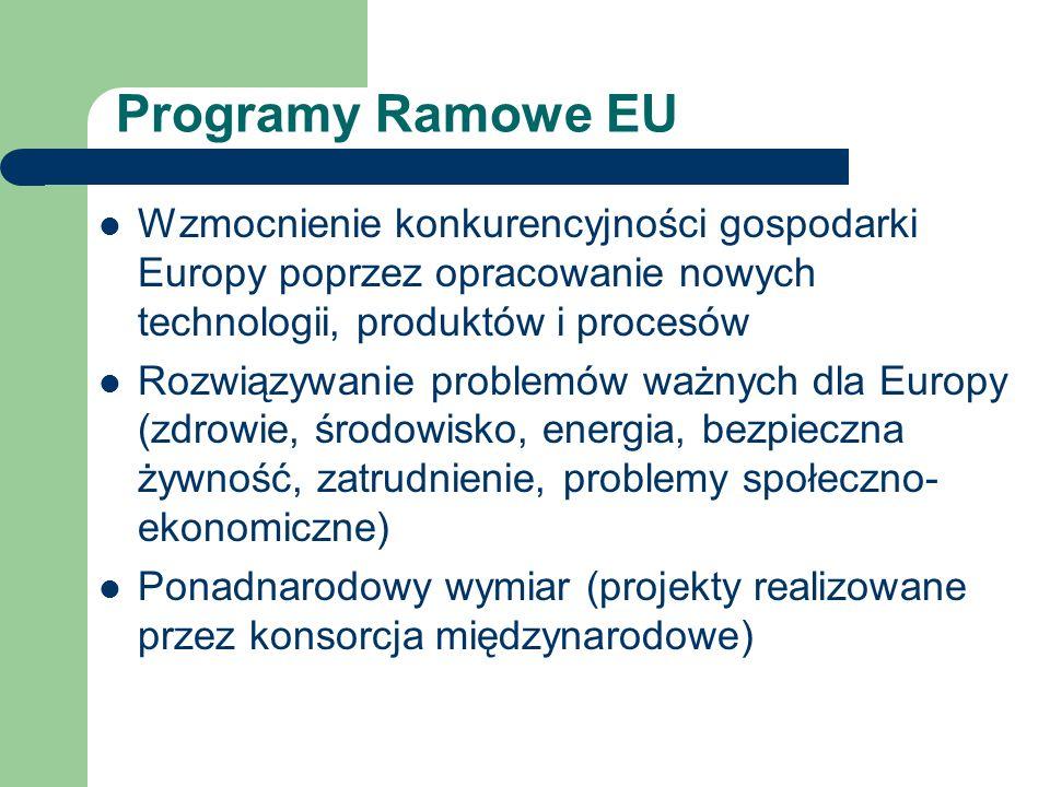 Polska w 6PR Uczestnictwo na równych prawach z krajami UE Możliwość współpracy z krajami z byłego związku radzieckiego (przyjmowanie stypendystów) Łatwiejsze granty w ramach schodów do doskonałości Brak dostatecznego doświadczenia na znaczącą pozycję w projektach zintegrowanych i sieciach doskonałości