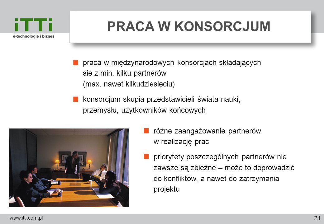 21 PRACA W KONSORCJUM www.itti.com.pl praca w międzynarodowych konsorcjach składających się z min. kilku partnerów (max. nawet kilkudziesięciu) konsor