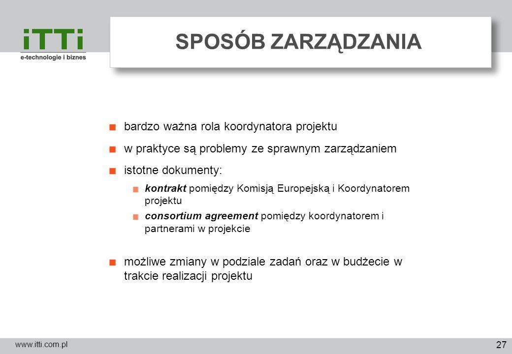 27 SPOSÓB ZARZĄDZANIA www.itti.com.pl bardzo ważna rola koordynatora projektu w praktyce są problemy ze sprawnym zarządzaniem istotne dokumenty: kontr