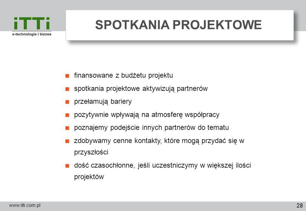 28 SPOTKANIA PROJEKTOWE www.itti.com.pl finansowane z budżetu projektu spotkania projektowe aktywizują partnerów przełamują bariery pozytywnie wpływaj