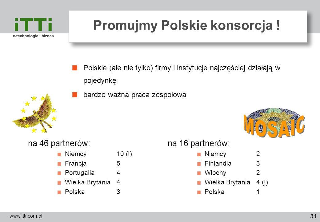 31 Promujmy Polskie konsorcja ! www.itti.com.pl Polskie (ale nie tylko) firmy i instytucje najczęściej działają w pojedynkę bardzo ważna praca zespoło