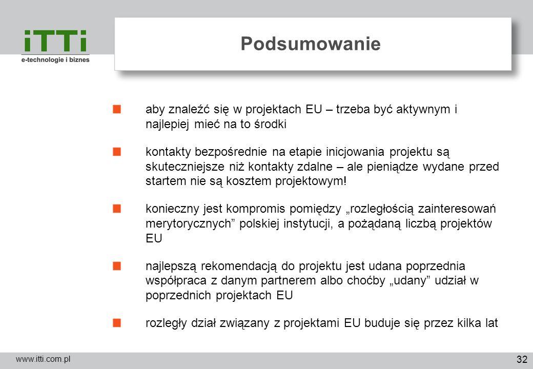 32 Podsumowanie www.itti.com.pl aby znaleźć się w projektach EU – trzeba być aktywnym i najlepiej mieć na to środki kontakty bezpośrednie na etapie in