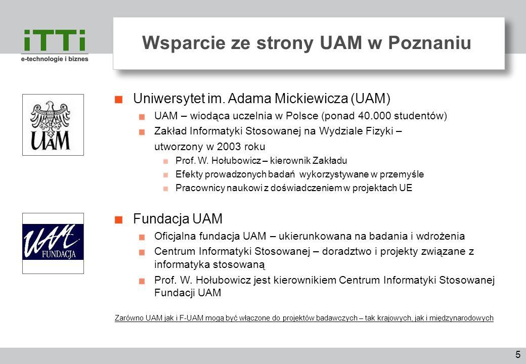 5 Wsparcie ze strony UAM w Poznaniu Uniwersytet im. Adama Mickiewicza (UAM) UAM – wiodąca uczelnia w Polsce (ponad 40.000 studentów) Zakład Informatyk