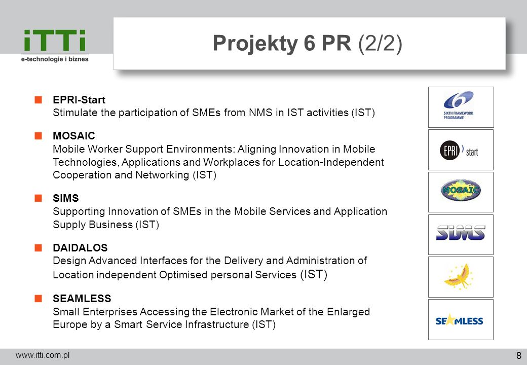 8 Projekty 6 PR (2/2) www.itti.com.pl EPRI-Start Stimulate the participation of SMEs from NMS in IST activities (IST) MOSAIC Mobile Worker Support Env
