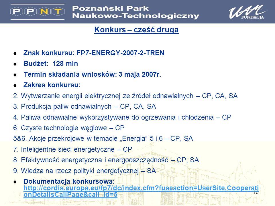 10 Konkurs – część druga l Znak konkursu: FP7-ENERGY-2007-2-TREN l Budżet: 128 mln l Termin składania wniosków: 3 maja 2007r.