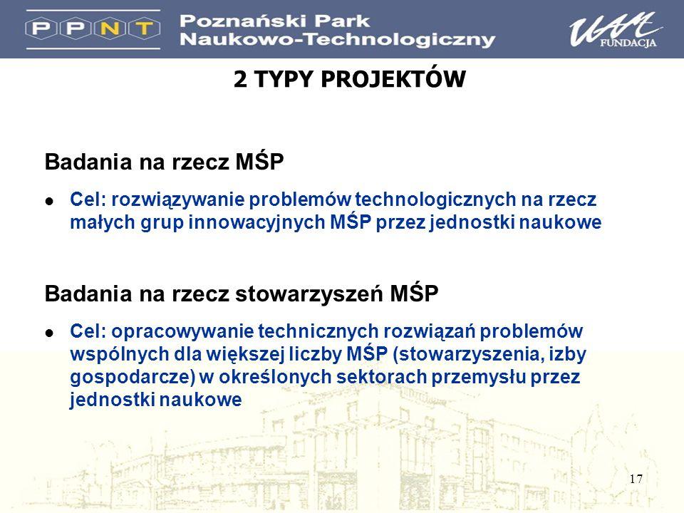 17 2 TYPY PROJEKTÓW Badania na rzecz MŚP l Cel: rozwiązywanie problemów technologicznych na rzecz małych grup innowacyjnych MŚP przez jednostki naukow
