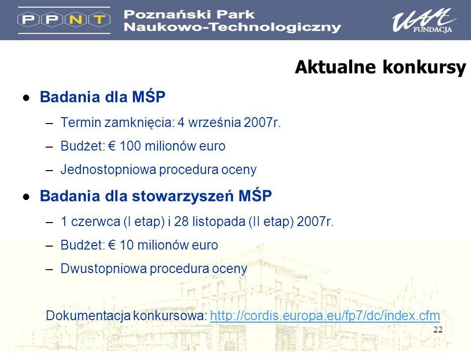 22 Aktualne konkursy l Badania dla MŚP –Termin zamknięcia: 4 września 2007r. –Budżet: 100 milionów euro –Jednostopniowa procedura oceny l Badania dla