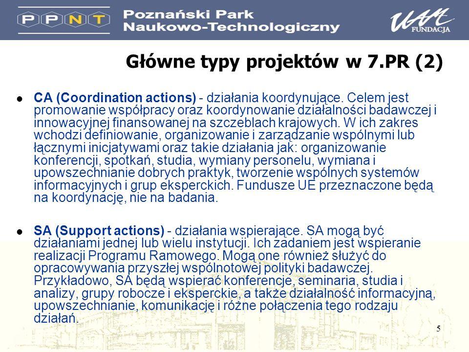 5 Główne typy projektów w 7.PR (2) l CA (Coordination actions) - działania koordynujące. Celem jest promowanie współpracy oraz koordynowanie działalno