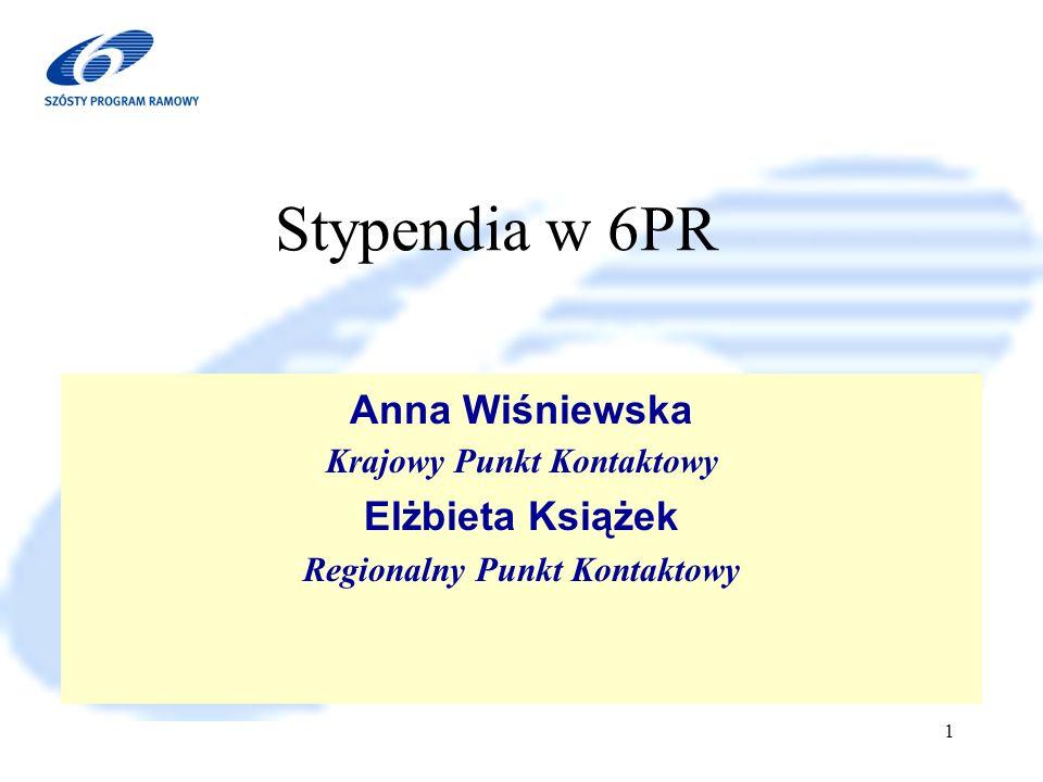 6 Program Ramowy 2002-2006 1 Anna Wiśniewska Krajowy Punkt Kontaktowy Elżbieta Książek Regionalny Punkt Kontaktowy Stypendia w 6PR