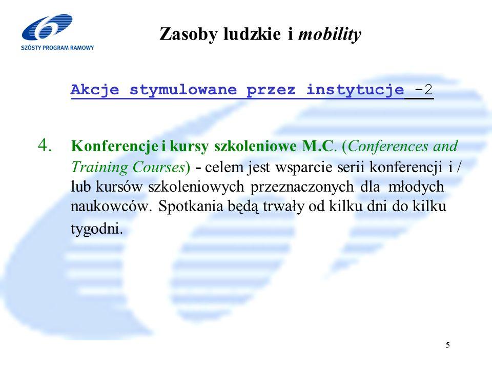 6 Program Ramowy 2002-2006 6 Zasoby ludzkie i mobility II Stypendia dla indywidualnych naukowców 1.Europejskie stypendia M.C.