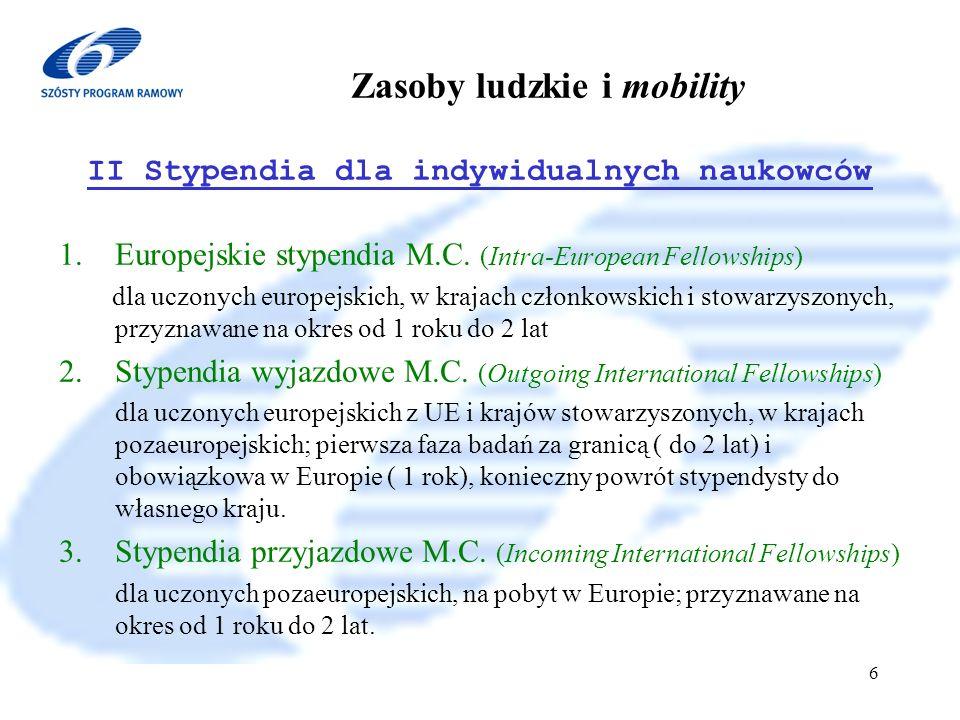 6 Program Ramowy 2002-2006 7 Zasoby ludzkie i mobility III Granty powrotne i reintegracyjne 1.2- letni grant na prowadzenie prac badawczych dla naukowców z UE i krajów stowarzyszonych w kraju macierzystym lub europejskim po przynajmniej 2-letnim stypendium M.C.