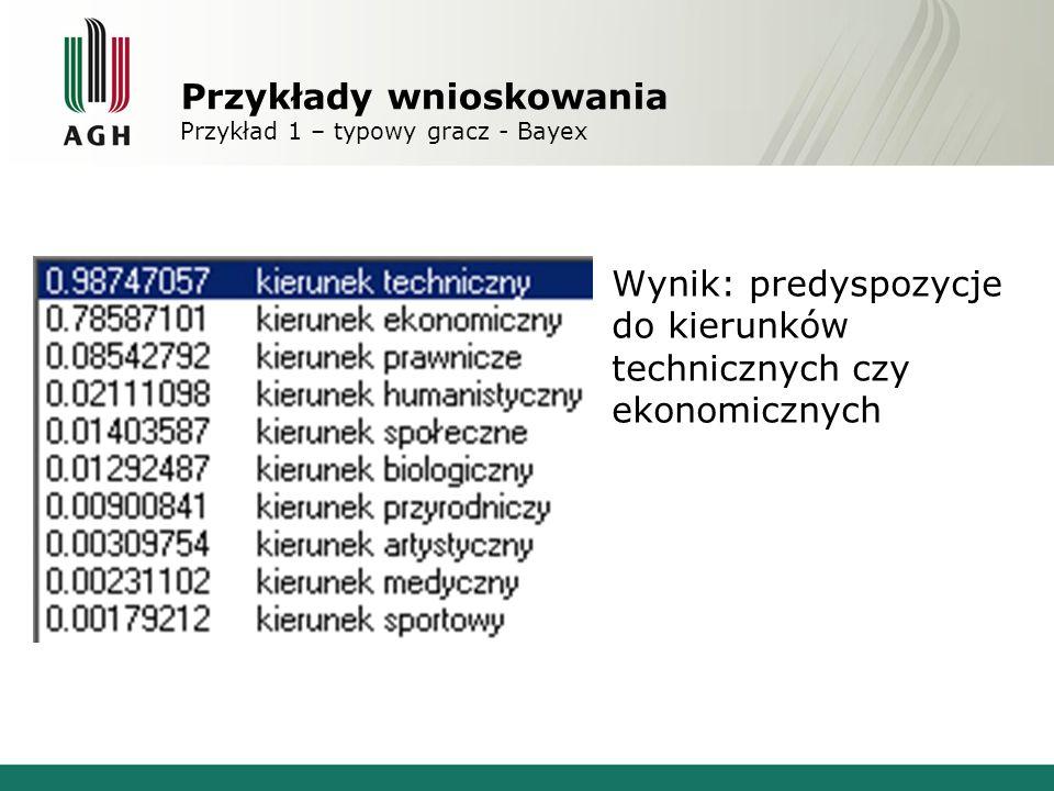 Przykłady wnioskowania Przykład 1 – typowy gracz - Bayex Wynik: predyspozycje do kierunków technicznych czy ekonomicznych