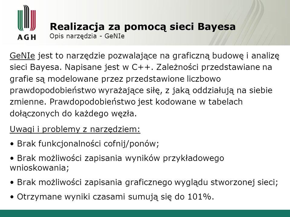 Realizacja za pomocą sieci Bayesa Opis narzędzia - GeNIe GeNIe jest to narzędzie pozwalające na graficzną budowę i analizę sieci Bayesa. Napisane jest