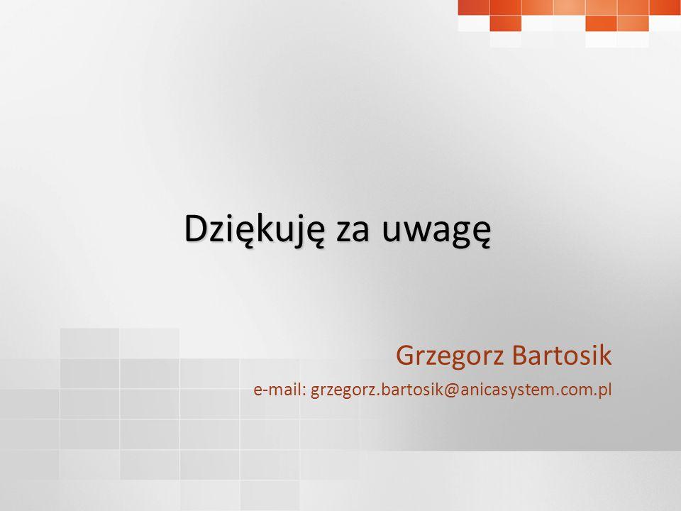 Dziękuję za uwagę Grzegorz Bartosik e-mail: grzegorz.bartosik@anicasystem.com.pl