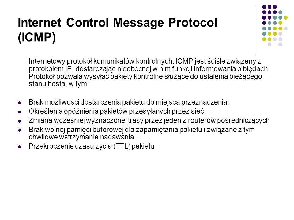 Internet Control Message Protocol (ICMP) Internetowy protokół komunikatów kontrolnych.