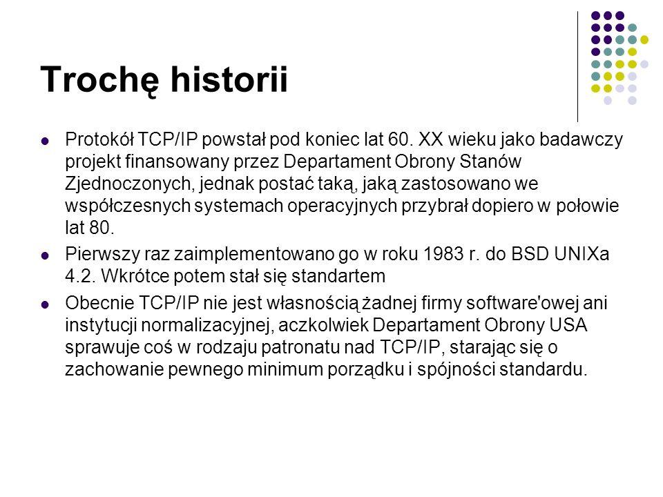 Budowa TCP/IP W obrębie TCP/IP działa dużo innych protokołów za pomocą których dane podróżują po sieci.