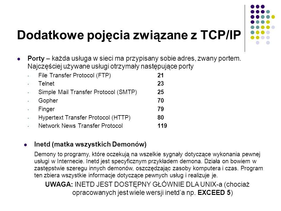 Dodatkowe pojęcia związane z TCP/IP Porty – każda usługa w sieci ma przypisany sobie adres, zwany portem.