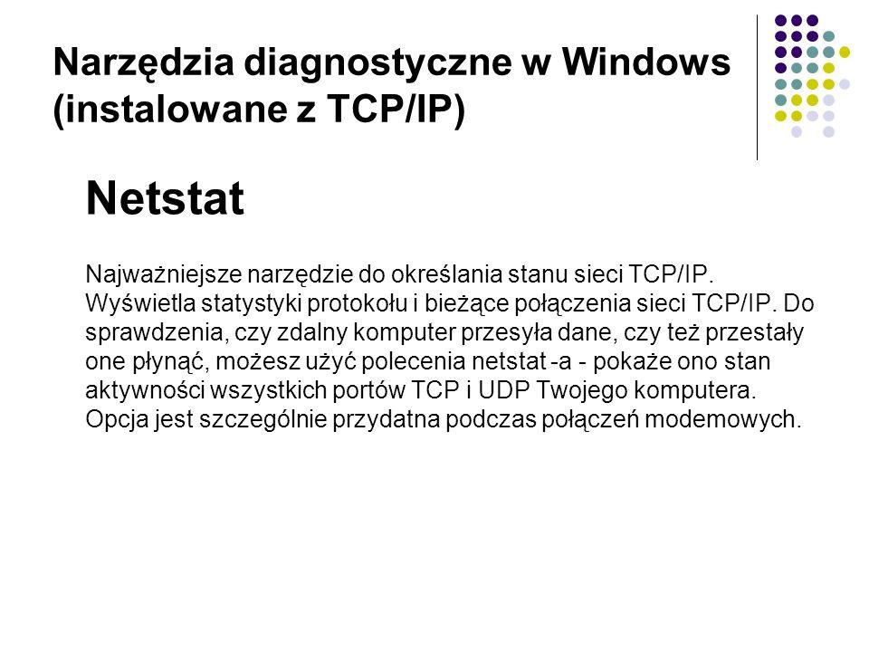Narzędzia diagnostyczne w Windows (instalowane z TCP/IP) Netstat Najważniejsze narzędzie do określania stanu sieci TCP/IP.