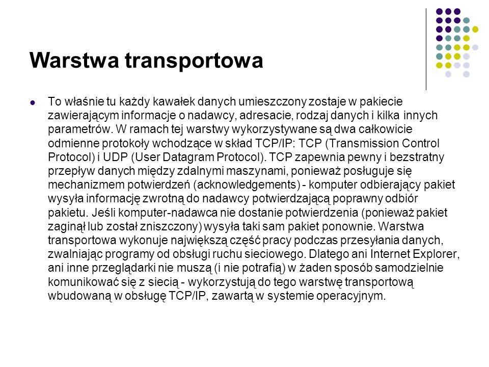 Warstwa transportowa To właśnie tu każdy kawałek danych umieszczony zostaje w pakiecie zawierającym informacje o nadawcy, adresacie, rodzaj danych i kilka innych parametrów.
