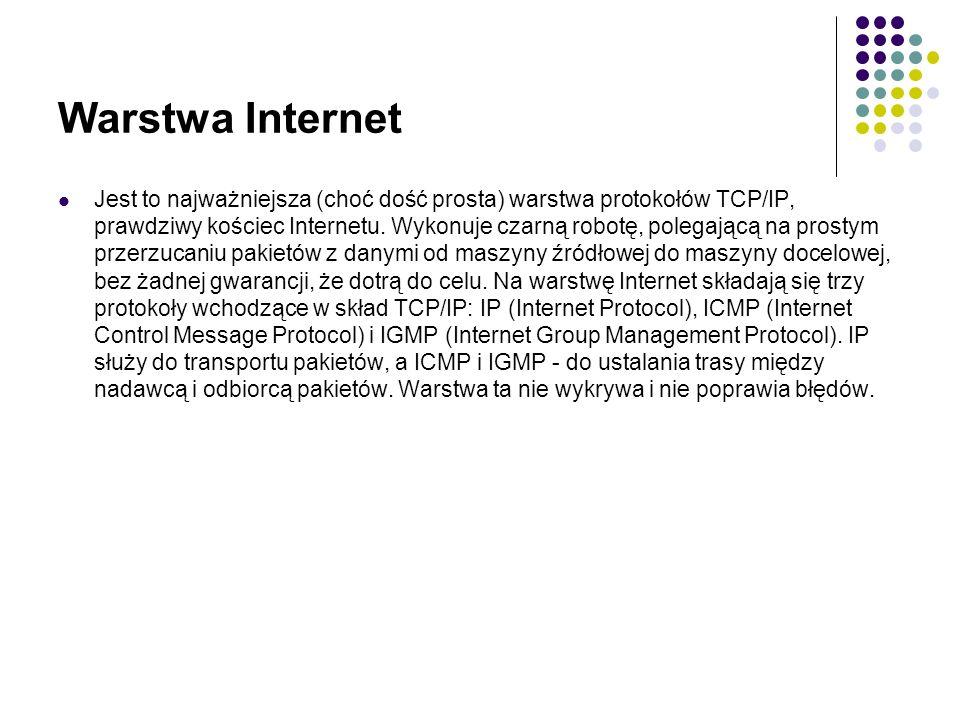 Warstwa Internet Jest to najważniejsza (choć dość prosta) warstwa protokołów TCP/IP, prawdziwy kościec Internetu.