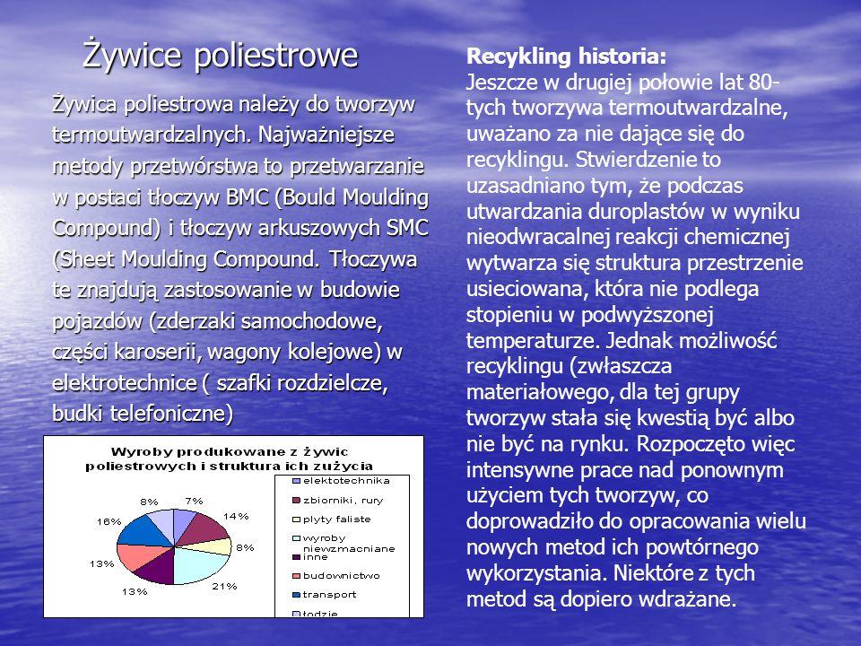 Żywice poliestrowe Żywica poliestrowa należy do tworzyw termoutwardzalnych. Najważniejsze metody przetwórstwa to przetwarzanie w postaci tłoczyw BMC (