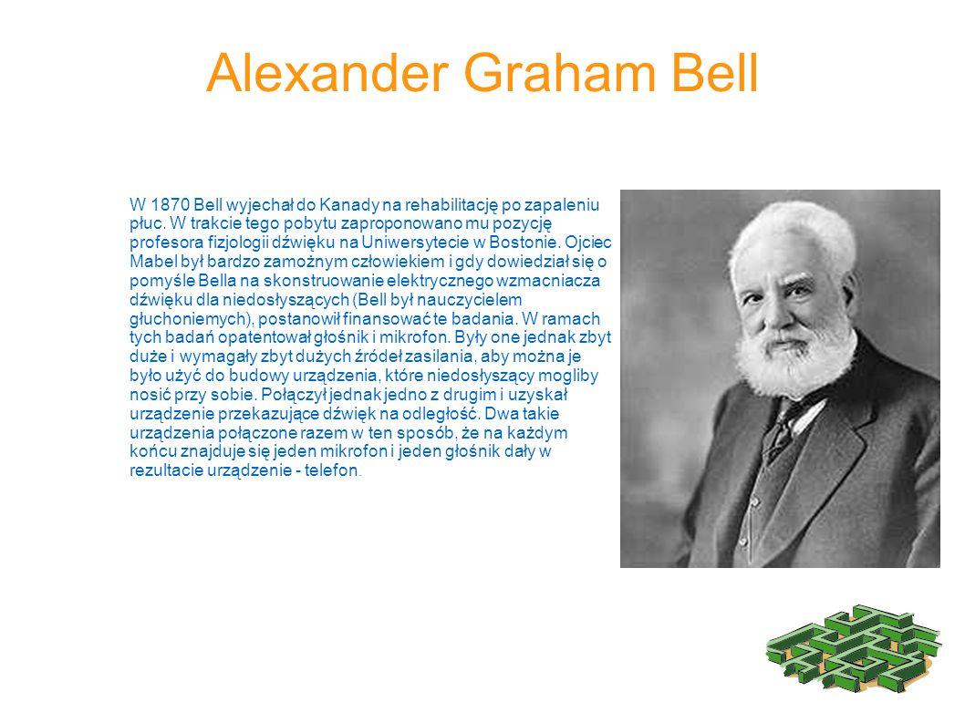 W 1870 Bell wyjechał do Kanady na rehabilitację po zapaleniu płuc. W trakcie tego pobytu zaproponowano mu pozycję profesora fizjologii dźwięku na Uniw